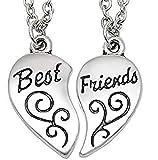 Inception Pro Infinite Collana Best Friends Diviso in Due Parti - Migliori Amici/Amiche (Cuore Motivo Inciso - 2 Pezzi)