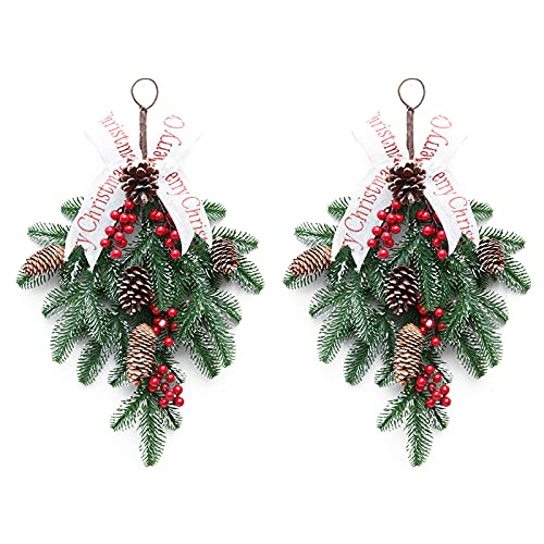 IMFILM 2Pcs 19.6Inch Christmas Teardrop Floral Swag,Hanging Christmas Garland Rattan,Red Berry Pine Cone Needle Branch Harvest Wreath for Shop Windows Fireplaces Decor