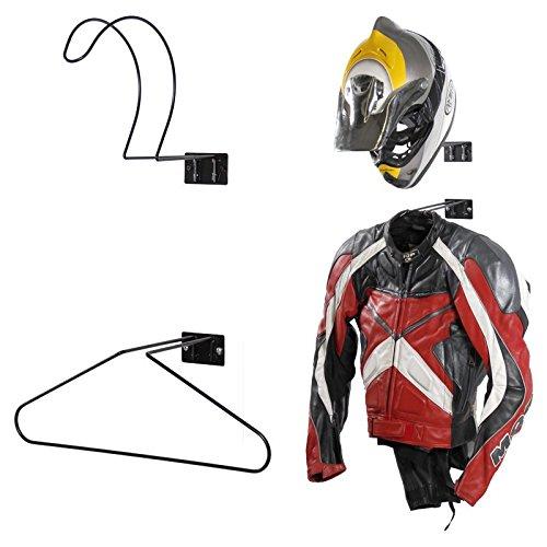 4U® Wand Motorradjackenhalter Jackenhalter Wandhalter Helmablage schwarz Helmhalter Fahrradhelm Motorradhelm Helm Reithelm Reitjacke Halter Bügel Kleiderbügel Jacke