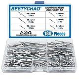 BESTYCHAO 180pcs 6 Größen Aluminium Blindnieten, Pop Nieten Sortiment Kit(Silber)