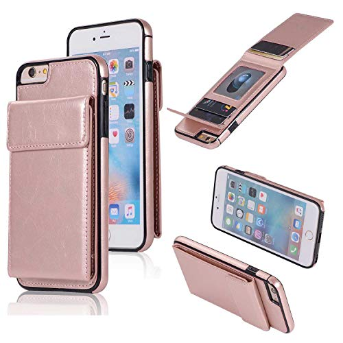 iPhone 6 Plus/iPhone 6S Plus Hülle, SONWO Premium PU Ledertasche Ultra Dünne Rückschale Stoßfest Schutzhülle mit mit Kartenhalter kompatibel für iPhone 6 Plus/iPhone 6S Plus, Rose Gold