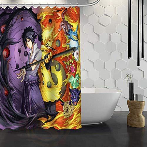 None brand Naruto Anime Duschvorhang mit Haken Stoff Duschvorhang für Badezimmer-180 cm x 180 cm