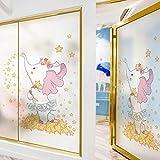La elegante película de privacidad de vidrieras de elefante de dibujos animados con estilo se puede usar en el baño y otras ocasiones se pueden reutilizar W50cmX H90cm