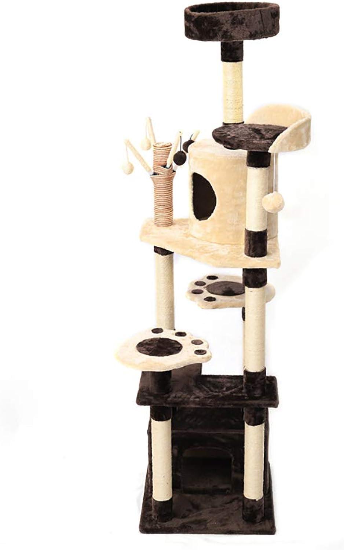 La Fellie Cat Tree Tower, la Scratcher Post Cat Scrat ng Playing House con Dangling Ball -* Perches Piattaforma Pet Play Activity Centre Brown, 50x183cm