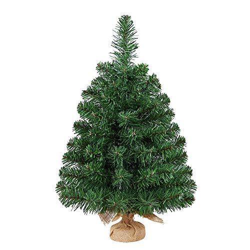 Yaheetech 60cm Weihnachtsbaum, Mini Kunstweihnachtsbaum, Tisch-Weihnachtsbaum, Weihnachtsdeko, Material PVC, inkl. Zementbasis