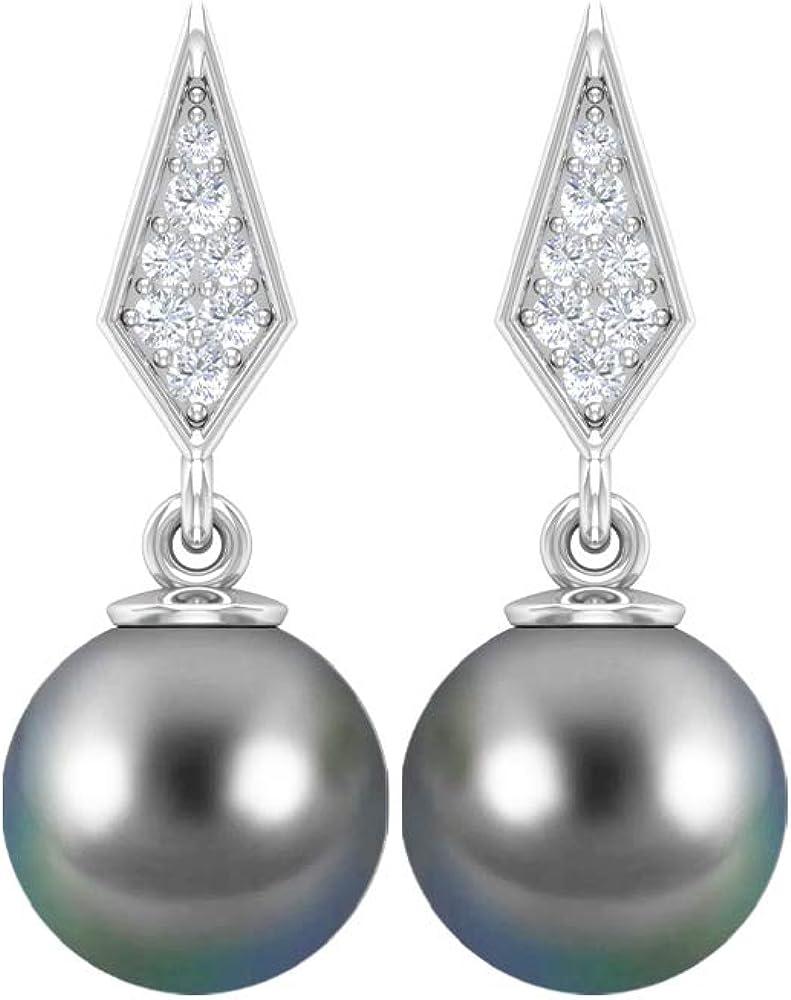 4.50 CT Pearl Drop Earrings, Diamond Cluster Earrings, Gold Drop Earrings (8 MM Round Black Tahitian Pearl), Screw back