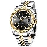 PAGANI Design - Reloj automático de hombre con mecanismo de marca superior, reloj deportivo de hombre, impermeable, de acero inoxidable (negro y dorado)