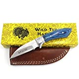 Wild Turkey Handmade Collection 7.25' Fixed Blade Hunting Knife w/Leather Sheath
