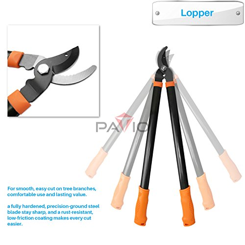 Patio Paradise iGarden 3 Piece Tree and Shrub Lopper-Shears-Purner Set, Garden Tool Set Tree Trimmer Branch Cutter Kit