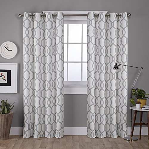 Exclusive Home Curtains Kochi Linen Blend Grommet Top Curtain Panel Pair, 52x108, Dove Grey, 2 Count