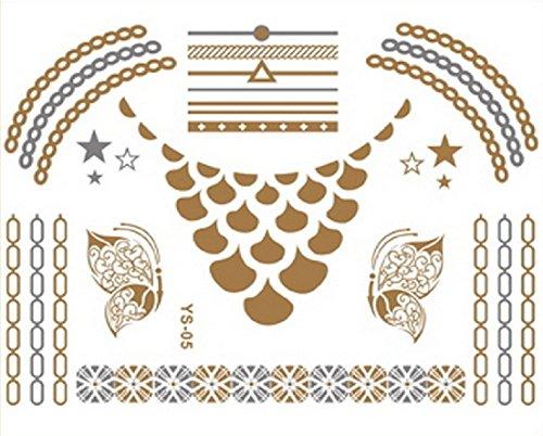 フラッシュ タトゥー (スワロフスキー クリスタル セット)メタリック シャイニング ジュエリー / ゴールドやシルバーに輝く メタルタトゥー タトゥー デザイン シール (FT-05)