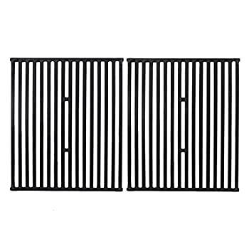 GGC 15 Inch Grill Grates Replacement for Broil King 9453-54 9453-57 9453-64 9865-54 9453-67 Broil-Mate Silver Chef Sterling Gas Grill 2 PCS Cast Iron Cooking Grid Grates  15  x 12 3/4  Each