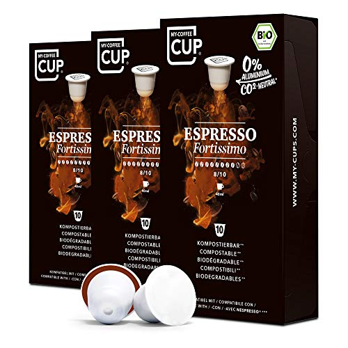 BIO Kaffeekapseln von My-CoffeeCup   Kompatibel mit Nespresso®*-Maschinen   100% kompostierbare Kapseln ohne Alu (Fortissimo (Espresso No. 1), 30 Kapseln)