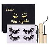 WEYZIM Magnetic Eyelash Kit,6D Faux Mink Lashes,Magnetic Eyeliner for Magnetic Eyelashes Set 2 Pairs