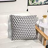 HLONGG Simple Cotton and Linen Pillows, Sofa Waist Backrest in Living Room, Big Backrest at Bedroom Bedside, Office Chair Cushion,Black Emperor Triangle