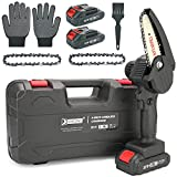 XORDING Mini Chainsaw 4-Inch Cordless Electric Portable Chainsaw with Brushless Motor, One-Hand Pruning Shears Chainsaw for Tree Branch Wood Cutting (Black)