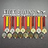 Kick Boxing - Colgador de medallas Deportivas - Medallero de Pared Artes Marciales, Kickboxing - Sport Medal Hanger - Display Rack (600 mm x 100 mm x 3 mm)