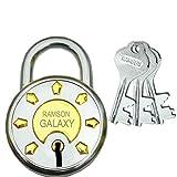 Ramson Steel Galaxy 8 Levers Double Locking Technology 3 Keys Lock 65 MM Pack of One (Silver)