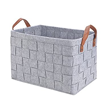 Perber Collapsible Storage Basket Bins, Foldable Handmade Rectangular Felt Fabric Storage Box Cubes Containers Handles- Large Organizer Nursery Toys,Kids Room,Towels,Clothes, Grey (16 x11.8 x11.5 )