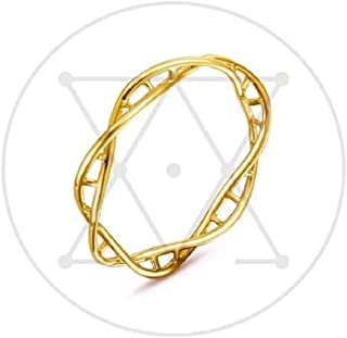 Xiaomei Fashion Jewelry Women 14kDNA Ring Chemistry Science Molecule Twist Rope Helix Simple Ring, DNA Double Helix Gold R...