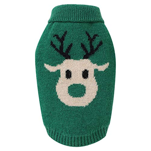 Petyoung Dog Cartoon Reindeer Sweaters, Pet Winter Warm Knitwear Clothes Christmas Coat for Small Medium Dog Cat