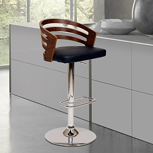 Armen Living Adele Swivel Barstool in Black Faux Leather and Chrome Finish 3644quot Adjustable Height