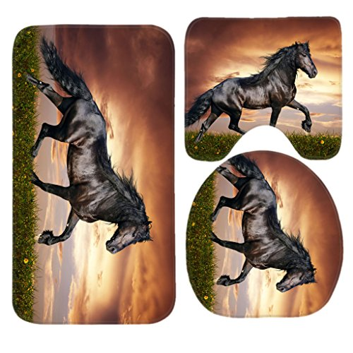 Arabian Horse Bath Mat Set,3 Piece Bathroom Mats Set Non-Slip Bathroom Rugs/Contour Mat/Toilet Cover by TEYAYA