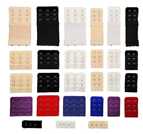 JZK JZK 27 Stücke Verschiedene Größen Büstenhalter Haken Verlängerung BH Erweiterung Gurt Extender Set, schwarz weiß beige rot blau lila