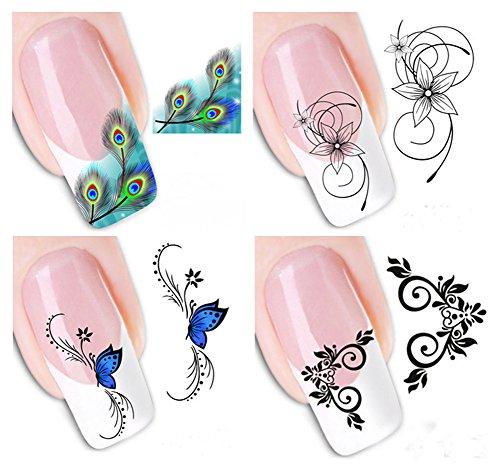 Gespout 4PCS Nail Art Autocollant Fleur Deco Nail Art Lot Stickers Pour Ongles Nail Outils Artistiques Différents Modèles
