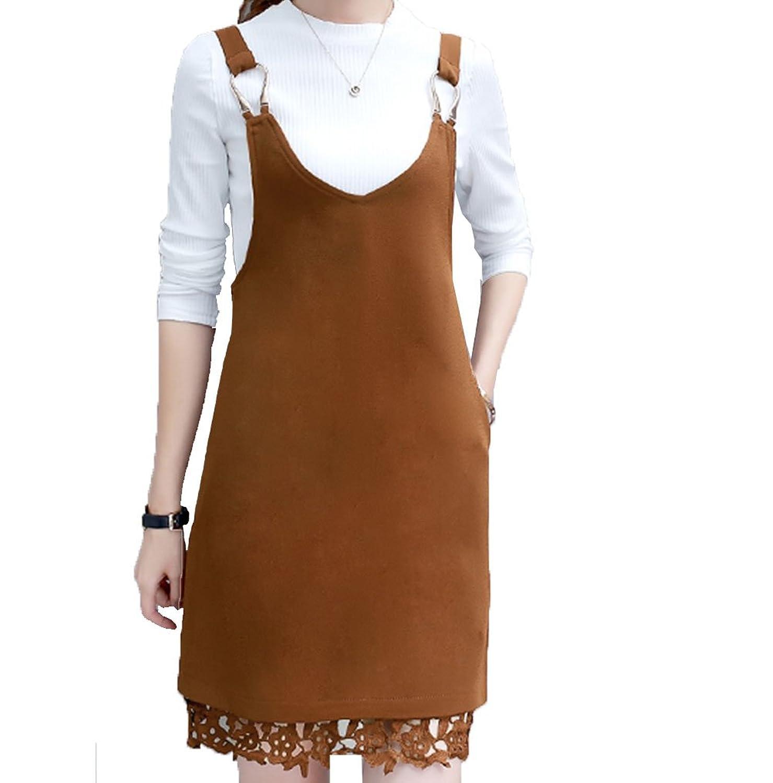 [美しいです]  秋  レディース 女の子 セット キャミソール ワンピース サロペット 長袖Tシャツ ワンピースセット オフィス  就活 ビジネス 通勤   夏 スーツ フリム OL おしゃれ レース スーパーストレッチ