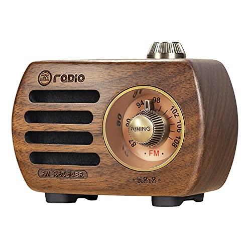 PRUNUS R-818 Radio Portable Rechargeable, Bluetooth 5.0 Mini Poste Radio Support Radio FM et Prise AUX, Radio Vintage en Bois de Noyer Naturel au Son et à la Basse HD
