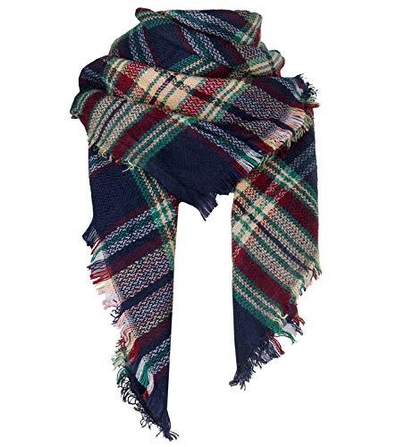 Winter Plaid Blanket Scarf Warm Cozy Soft Fall Scarfs for Women Chunky Oversized Shawls and Wraps(1-Blue plaid scarf)