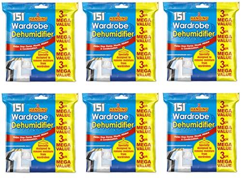 Kleiderschrank-Luftentfeuchter zum Aufhängen hilft gegen Schimmel, Nässe, Schimmel, Feuchtigkeit und Kondensation, 6 x 3pk