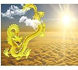 Rureng Fondo De Pantalla Personalizado Cielo Jinlong Decorativos Tv Fondo De La Pared Decoración Del Hogar Sala De Estar Dormitorio Fondo De La Pared 3D Fondo De Pantalla-200X140Cm