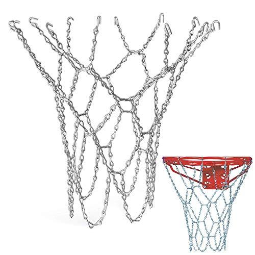 Schneespitze Rete Basket in Metal,Pallacanestro Netto Portable Basket d'Acciaio Basket Net Acciaio Inossidabile 12 Hoop per Uso Interno o Esterno