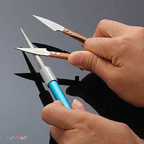 Jiayuane Diamant stylo couteau aiguiseur de poche professionnel affûtage pierre pêche en plein air (bleu)