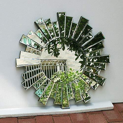 GLJJQMY Wandspiegel, moderne runde Glaskonsole, Wanddekoration Spiegel Kunst Wandspiegel