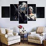 WXHHG 5 Leinwandbilder Rahmen Wand Kunstdruck Leinwand Gemälde The Witcher 3 Heißes Spiel Bild Wild Hunt Wanddekor Raum Poster Leinwand