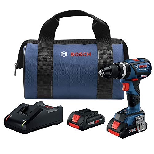Bosch GSB18V-535CB25-RT 18V EC Compact Tough Brushless Lithium-Ion 1/2 in. Cordless Connected-Ready Hammer Drill Kit (4 Ah) (Renewed)