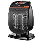 UALAU Ceramic Space Heater【Premium Quality】with High Heating Efficiency & Low Noise, Portable Electric Heater with Intelligent Digital Control Panel for Bedroom Home Office Indoor Use, 900W/1500W