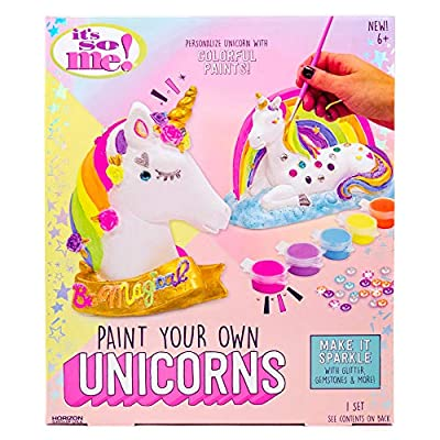 It's So Me! Paint Your Own Unicorns by Horizon Group USA, Paint & Decorate 2 Plaster Unicorns, Includes 6 Acrylic Paints, 5 Metallic Paints, Gemstones, Glitter, Sticker Sheet, Paint Brush & More by Horizon Group USA