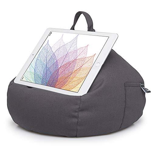 iBeani, Ständer für iPad & Tablet, Sitzsack-Kissen für alle Geräte und jeden Winkel auf jeder Oberfläche grau schiefergrau
