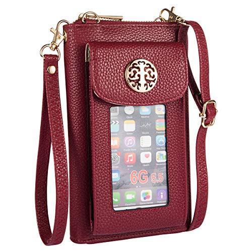 Heaye Crossbody Cell Phone Purse for Women Wristlet Wallet with Card Slots RFID (Wine)