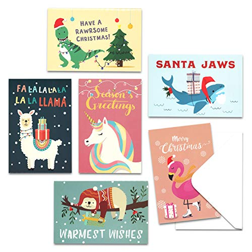 Christmas Cards with Envelopes, 48-Count Christmas Cards Boxed, 6 Cute Animal Designs, 4 x 6 Inches, Blank Inside Christmas Cards Bulk, Holiday Xmas Greeting Cards…