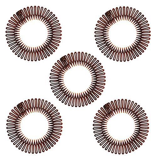 5 stücke Mode Schwarz Kunststoff Vollkreis Stretch Flexible Kamm Zähne Stirnband Haarband Clip Gesicht Waschen Feste Haarschmuck Changlesu (Braun)