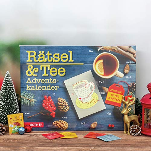 ROTH Rätsel & Tee-Adventskalender gefüllt mit 24 Teebeuteln und pro Tag einem kleinen Rätsel - 45x34x4cm