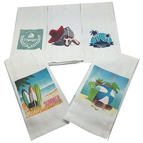 Beach Theme Bathroom Towel Set-Set of 5 Nautical Hand Towels-Beach Themed Hand Towels