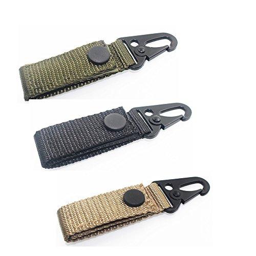 Ycnk Lot de 3 Molle en toile fer Sangle Clip ceinture pour clés pour 5 cm Ceinture Noir Kaki armée Vert Compatible avec Molle, sacs en toile Sangle de fixation