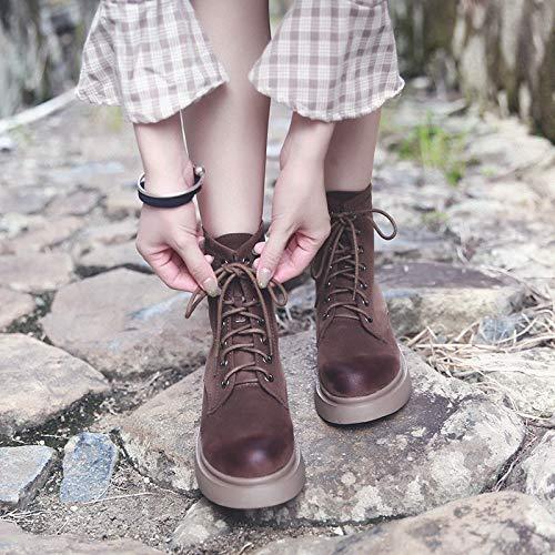 Shukun enkellaarsjes Martin springen vrouwelijke platte laarzen van de korte herfst van de herfst en de winterstudent.
