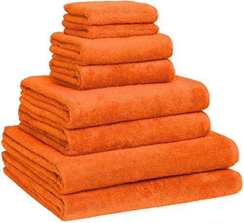 Luxury Extra Large 8-Piece Turkish Towel Set with 4 Bath Towels (30x60 and 24X48) - Orange